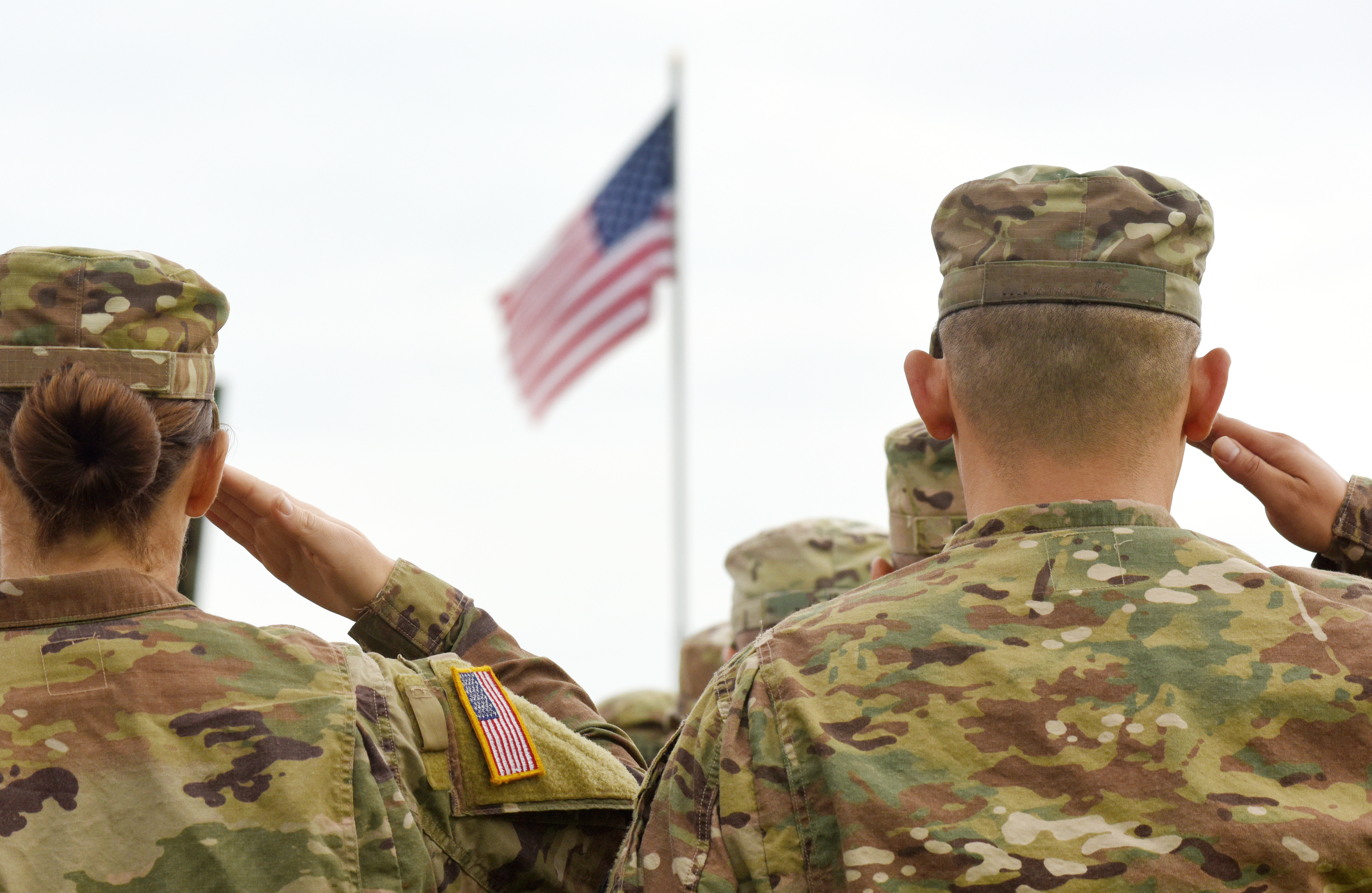 Soldiers saluting flag, The Patriots Connection at RSF Foundation